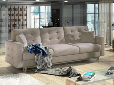 3 Seater Sofa Bed in Padded Beige Fabric Soro 23 - Copenhagen