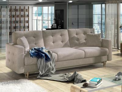 Sofá cama de 3 plazas tapizado capitoné - Copenhagen. Tela beige Soro 23