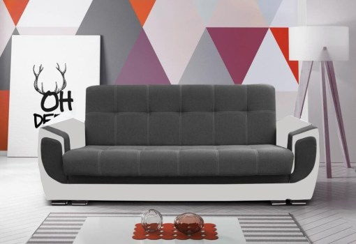 Sofa bed upholstered in fabric - Tarancón. Dark grey fabric on backrest, light grey on armrests. W11