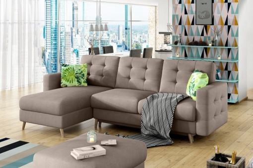 L-shaped Sofa Bed with Padded Upholstery - Copenhagen. Beige fabric Soro 23