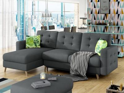 L-shaped Sofa Bed with Padded Upholstery - Copenhagen. Dark grey fabric Soro 95