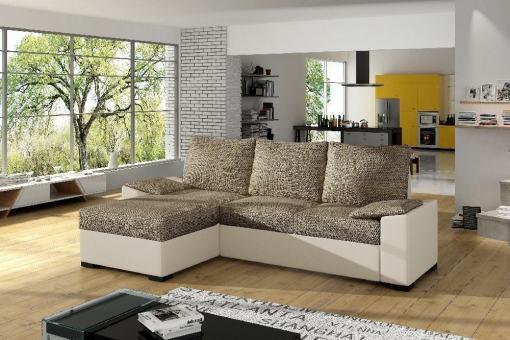 Sofá chaise longue con cama grande y con arcón - Glasgow. Tela marrón, polipiel beige - 02