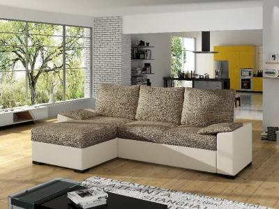 Chaise longue sofa with large pull-out bed and storage - Glasgow. Brown fabric / beige faux leather. Chaise longue on the left