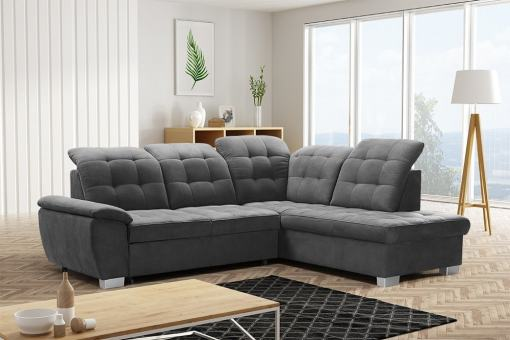 Corner Sofa with High Backrest, Reclining Headrests, Bed and Storage - Hamilton. Right Corner. Grey soft to touch fabric - Alfa 19