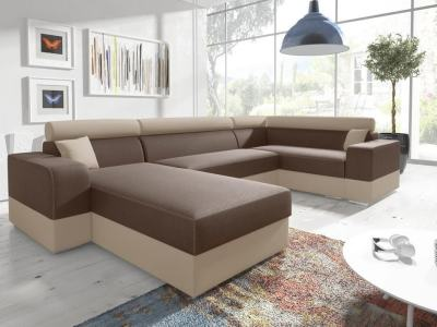 U-shaped sofa with pull-out bed - Milan. Right corner. Brown/beige fabrics