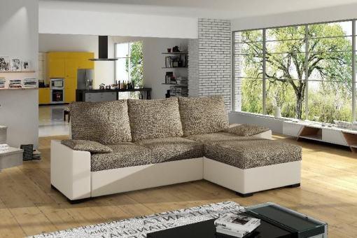 Sofá en tela y polipel con chaise longue, cama y arcón Glasgow. Tela marrón, polipiel beige. Chaise longue montado a la derecha