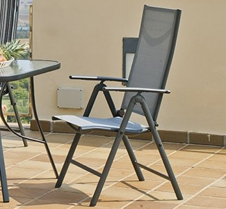 Grey Folding Patio Chair Adjustable in 5 Positions – Dominica
