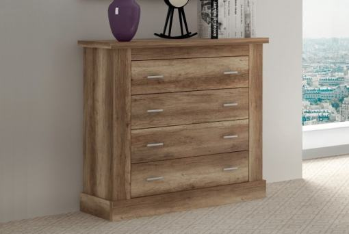 4 Drawer Low Chest of Drawers, 2 Handles Each, Imitation Wood Finish - Alabama