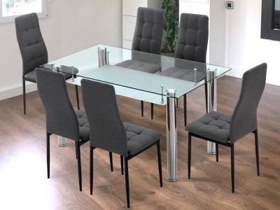 6 Seater Dining Set with Grey Upholstered Chairs and Glass Top Table - Moncada/Benissa