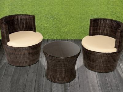 Patio Set: Round Table and 2 Round Chairs in Synthetic Rattan - Marzo