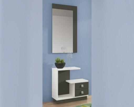Conjunto de recibidor con espejo, 2 cajones, blanco y gris - modelo Teramo