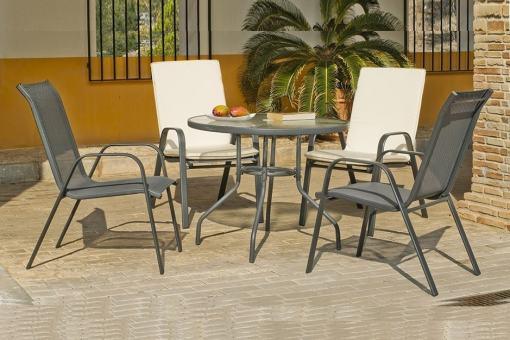 Juego de comedor de jardín, gris, mesa redonda 90 cm + 4 sillas, acero - Dominica