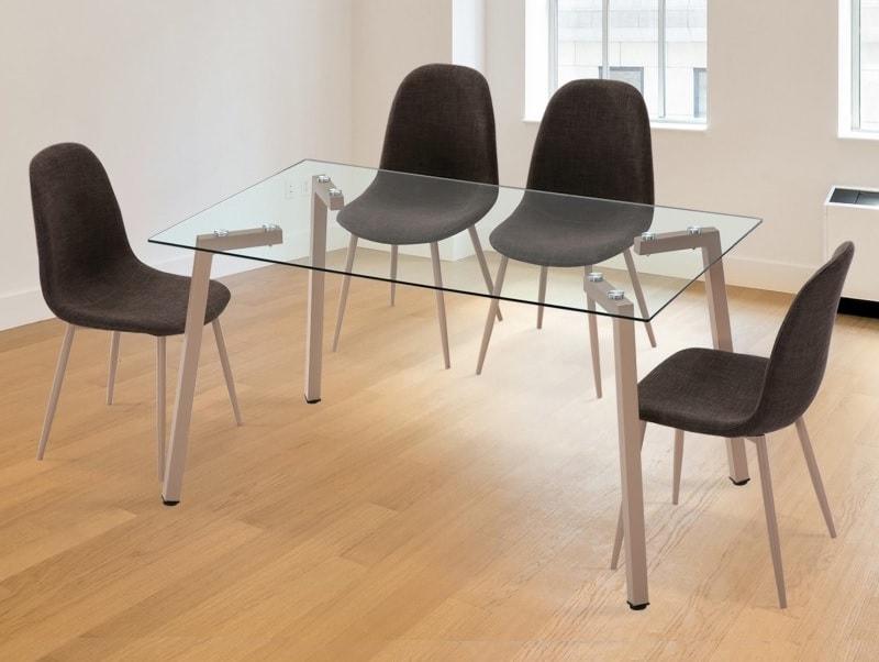Juego de comedor moderno - mesa con cristal + 4 sillas tapizadas -  Herring/Randers - Don Baraton: tienda de sofás, colchones y muebles