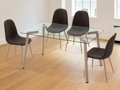 Scandinavian Dining Set - Glass Top Table + 4 Upholstered Chairs - Herring/Randers