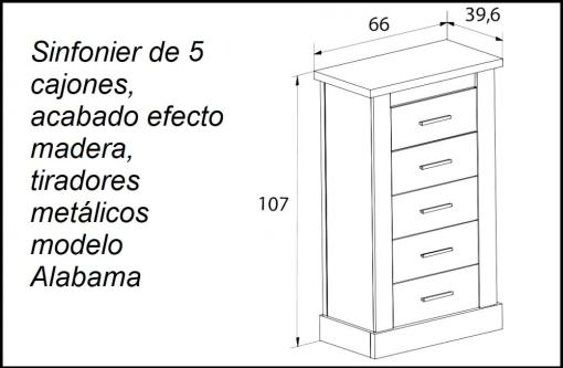 Dimensions of the narrow 5 drawers tall boy - Alabama