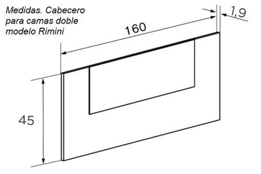 Medidas. Cabecero económico para camas doble modelo Rimini