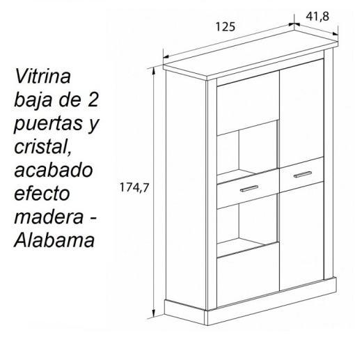 Medidas. Vitrina baja de 2 puertas y cristal, acabado efecto madera - Alabama