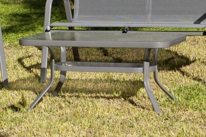 Grey Patio Coffee Table With Toughened Glass Top Steel Dominica
