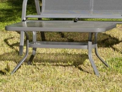 Grey Patio Coffee Table with Toughened Glass Top, Steel - Dominica