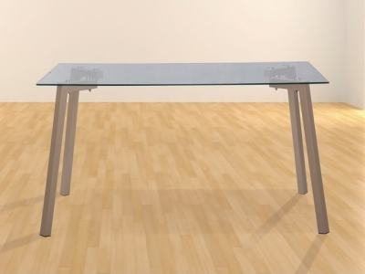 Modern Dining Table with Transparent Glass Top 140 x 80 cm - Herning
