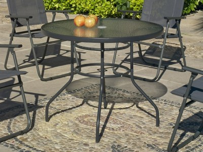 Grey Round Garden Table, Diameter 90 cm, Steel - Dominica