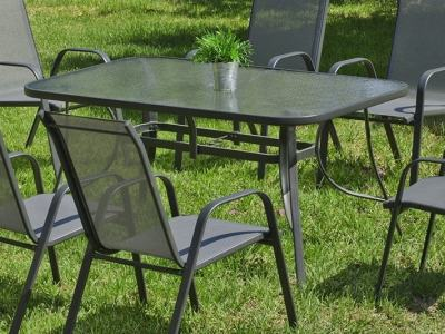 Grey Steel Rectangular Patio Table, 150 x 90 cm - Dominica