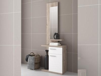 Recibidor moderno con espejo y 2 cajones en blanco y roble - Rovigo