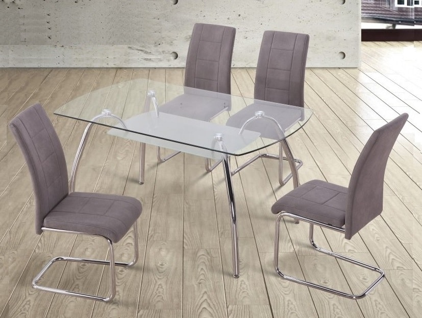 Set comedor moderno: mesa de cristal + 4 sillas tapizadas - Aspe - Don  Baraton: tienda de sofás, colchones y muebles