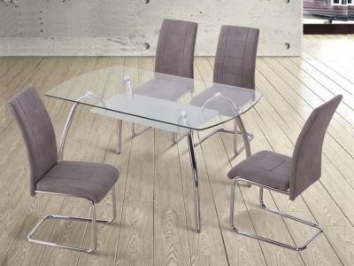 Обеденная группа на 4 персоны: стол стекло, стулья обитые тканью серого цвета - Aspe
