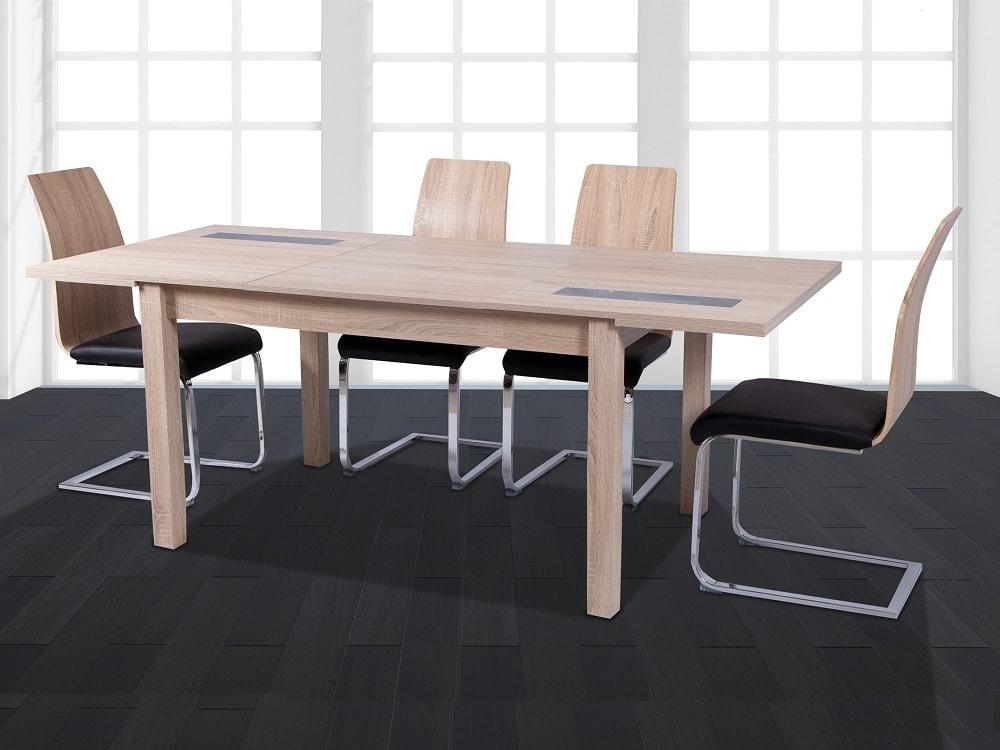 Set de comedor moderno con mesa extensible y 4 sillas, roble y negro -  Catania / Reus - Don Baraton: tienda de sofás, colchones y muebles