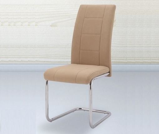 Modern Dining Chair Upholstered in Beige Fabric - Aspe