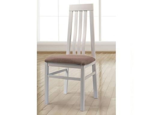 Белый стул из массива дерева с сиденьем обитым тканью - Utiel