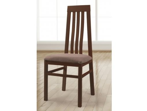 Cherry Colour Solid Wood Dining Chair with Seat Upholstered in Fabric - Utiel