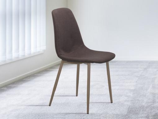 Silla diseño nórdico tapizada en tela marrón chocolate - Randers
