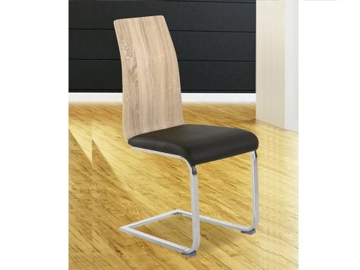 Modern Two-Tone Dining Chair (Black & Oak) with Upholstered Seat - Reus
