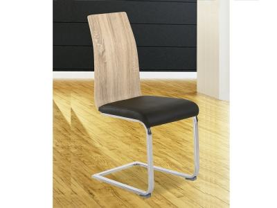 Silla moderna con asiento tapizado en polipiel, bicolor negro y roble - Reus