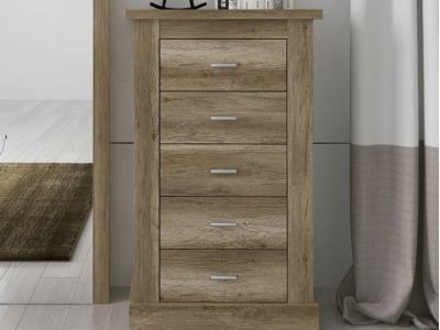 5 Drawer Tall Boy Chest of Drawers, Wood Imitation - Alabama