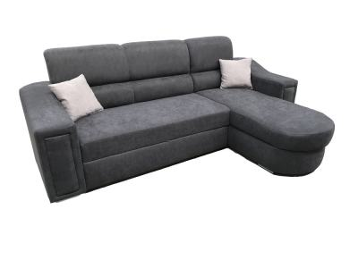 Fabric Sofa Bed with Chaise Longue and Storage - Venecia. Dark Grey Fabric. Corner on the Right