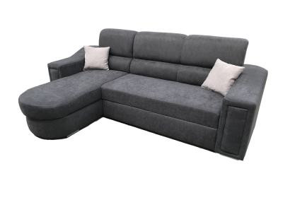 Fabric Sofa Bed with Chaise Longue and Storage - Venecia. Dark Grey Fabric. Corner on the Left