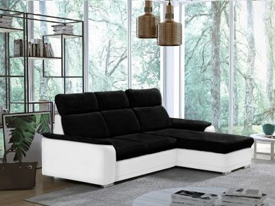 Black Fabric and White Faux Leather Chaise Longue Sofa with Pull-out Bed – Vancouver. Right Side Corner