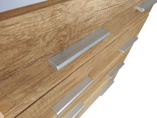 Grey Plastic Handles of the 4 Drawer Chest of Drawers in Imitation Wood Finish - Alabama