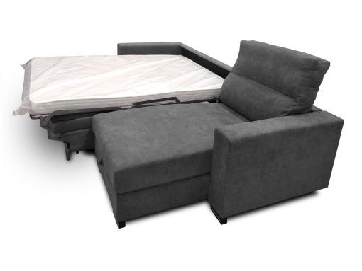 Brazo, chaiselongue y cama sistema italiano abierta del sofá modelo Madrid. Tela gris oscuro (marengo)