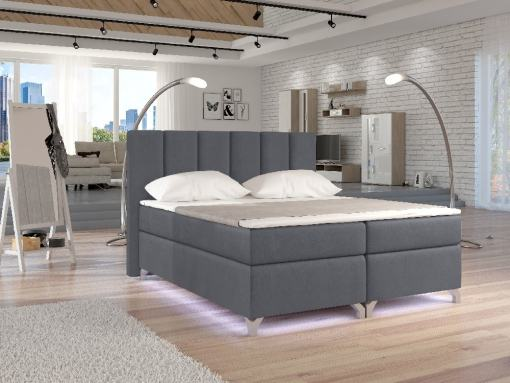 Cabecero tapizado por detrás, apto para el centro del dormitorio. Cama con luces LED modelo Barbara