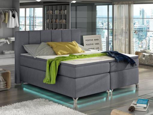 Cama con luz LED, 180 x 200, con arcones, colchón, cabecero y topper - Barbara. Tapizada en tela gris claro