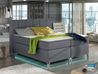 Bed with LED Lights, 180 x 200, Mattress, Storage, Headboard, Topper - Barbara. Light Grey Fabric Soro 93