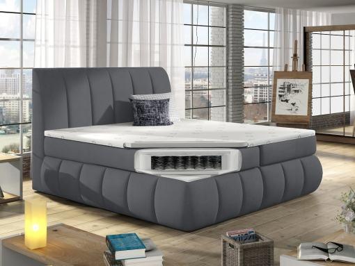 Colchón de muelles y topper de la cama matrimonial con cabecero y base acolchados, 180 x 200 cm - Ana