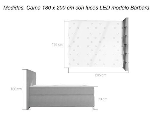 Medidas de la cama con luces LED modelo Barbara