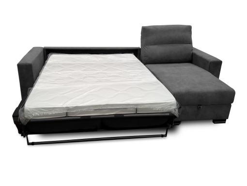 Modo cama, colchón. Sofá chaise longue apertura italiana - Madrid. Tela gris oscuro (marengo)