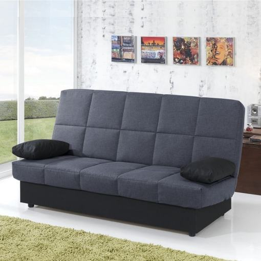 Inexpensive Folding Sofa Bed. Dark Grey Fabric (Backrest and Seat). Black Cushions. Fortuna