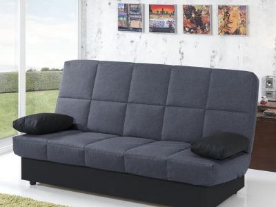 Sofá cama libro económico. Tela gris oscuro (respaldo y asientos) y negra (cojines). Fortuna